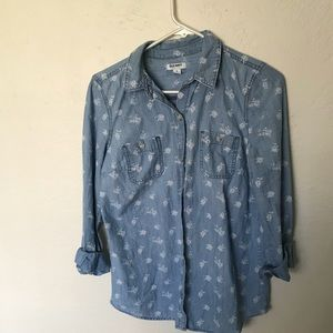 Denim shirt with white flowers
